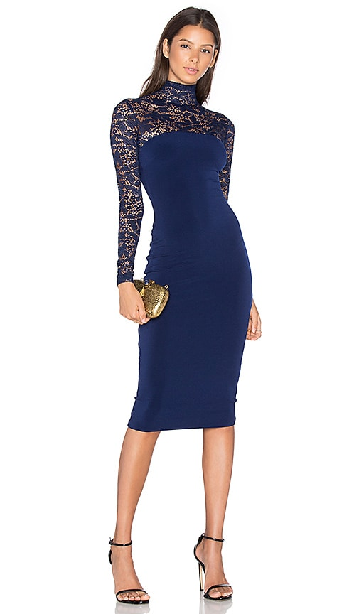 Nookie Rebel Heart High Neck Midi Dress in Navy