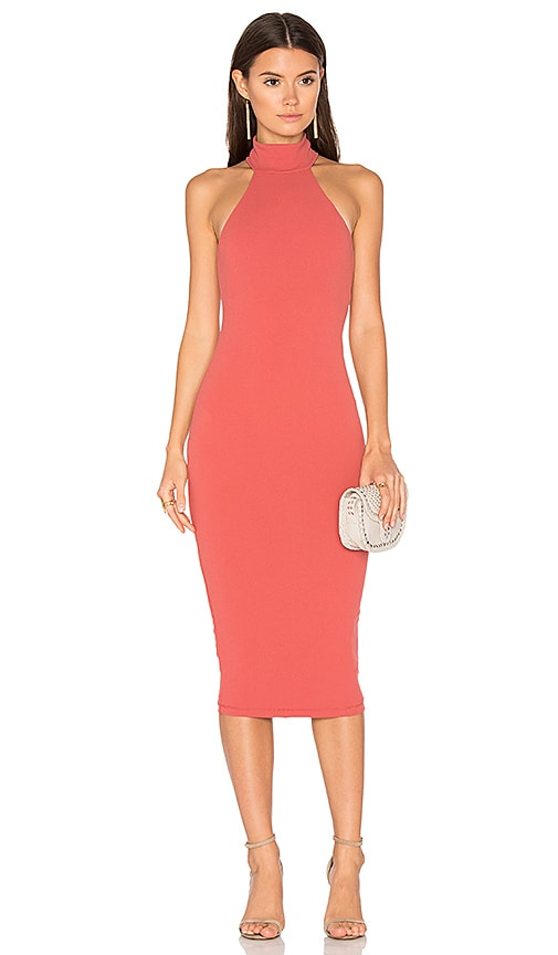 Nookie Basic Instinct Midi Dress in Coral