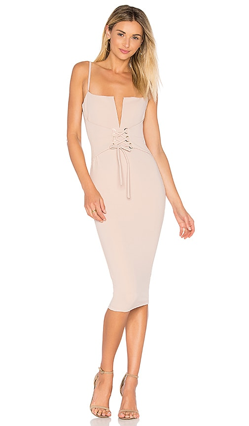 Nookie Madison Midi Dress in Beige