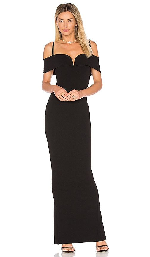 NOOKIE Pretty Belle Cold-Shoulder Gown in Black