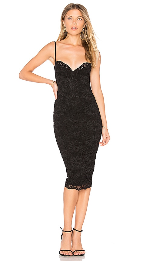Nookie Paris Midi Dress in Black