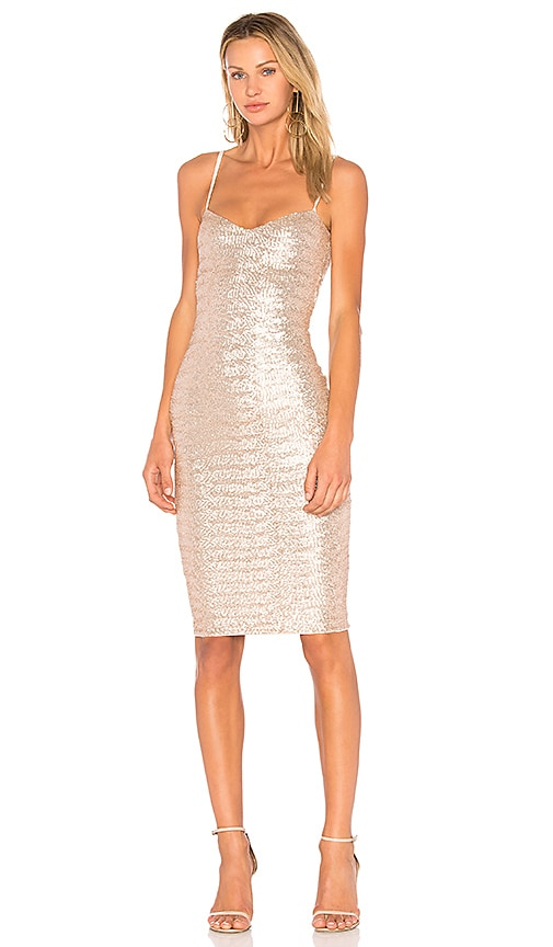 Nookie Vegas Midi Dress in Metallic Gold