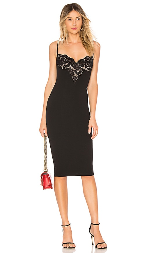 Nookie Liana Lace Midi Dress in Black