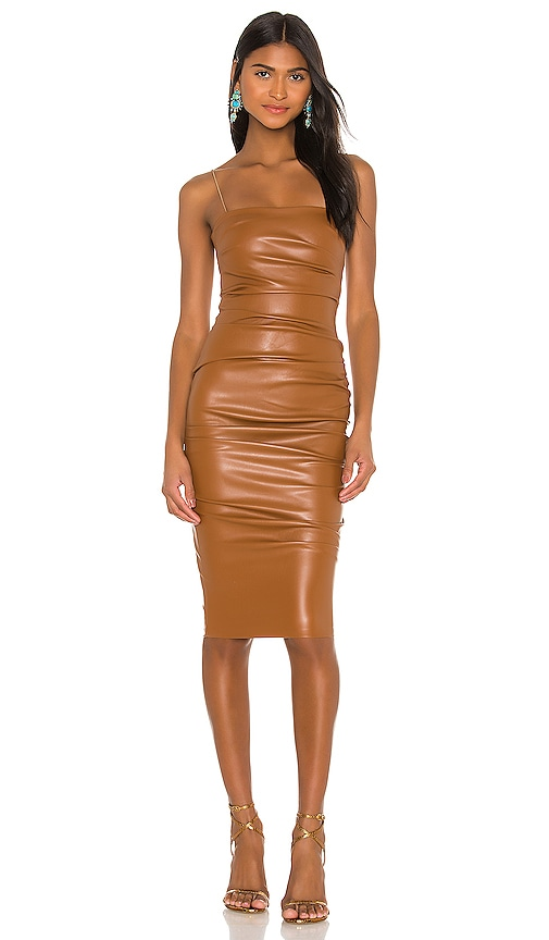 Nookie Posse X Revolve Faux Leather Midi Dress In Brown Modesens Here is a huge clothing haul of all my favorite new pieces for spring and summer! posse x revolve faux leather midi dress in brown