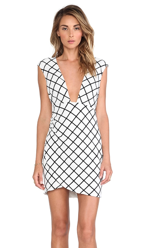 80fa655690 Nookie Bowie Check Low Cut Shift Dress in White