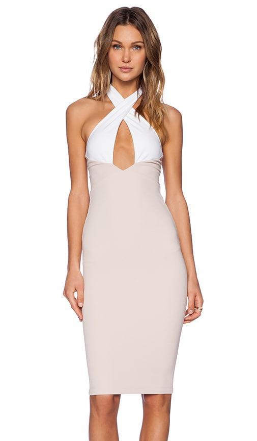 Nookie Sophia 2 Tone Halter Dress in Nude & White
