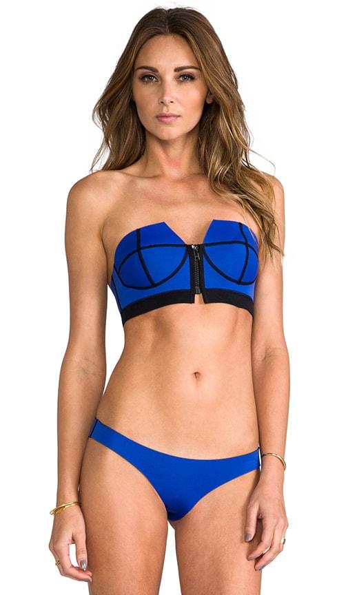 Zip Front Strapless Bikini Top