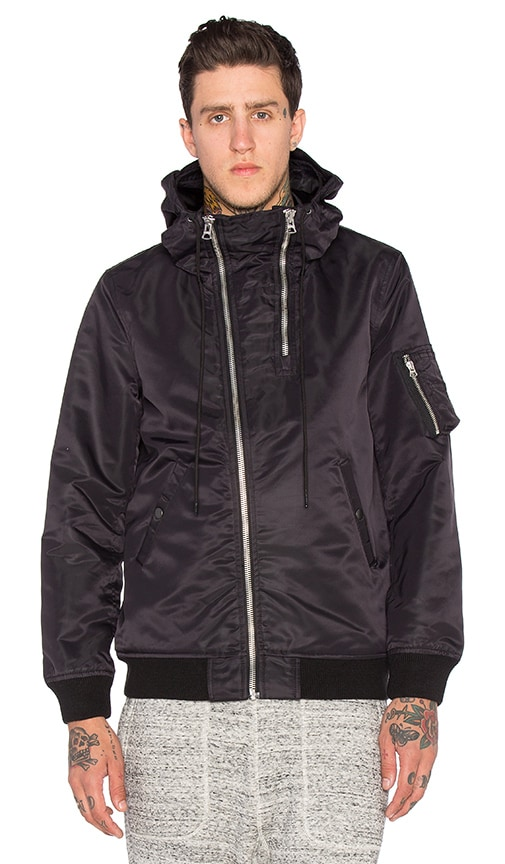 NLST Double Zip Hooded Flight Jacket in Black
