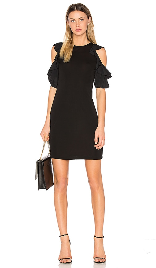No. 21 Open Shoulder Shift Dress in Black