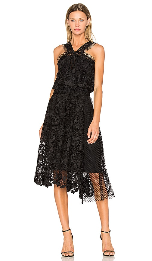 No. 21 Lace Midi Dress in Black