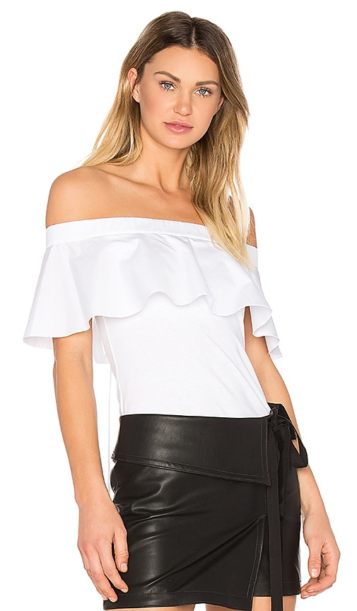 No. 21 Ruffle Off The Shoulder Top in White