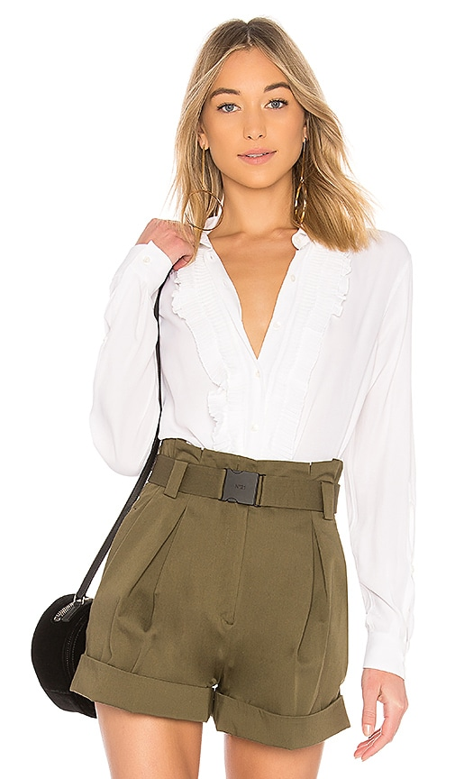 No. 21 Ruffle Blouse in White