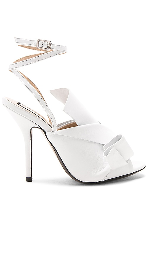 No. 21 Strappy Open Toe Heel in White
