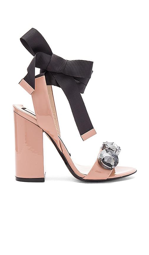No. 21 Tie Ankle Gem Heel in Beige