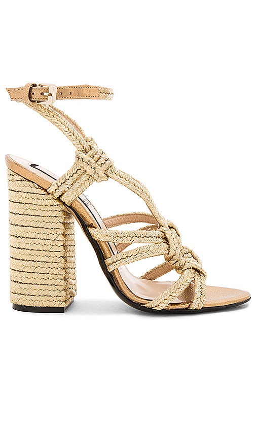 No. 21 Woven Strappy Heel in Metallic Gold
