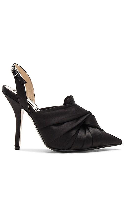 No. 21 Satin Ankle Strap Bow Heel in Black