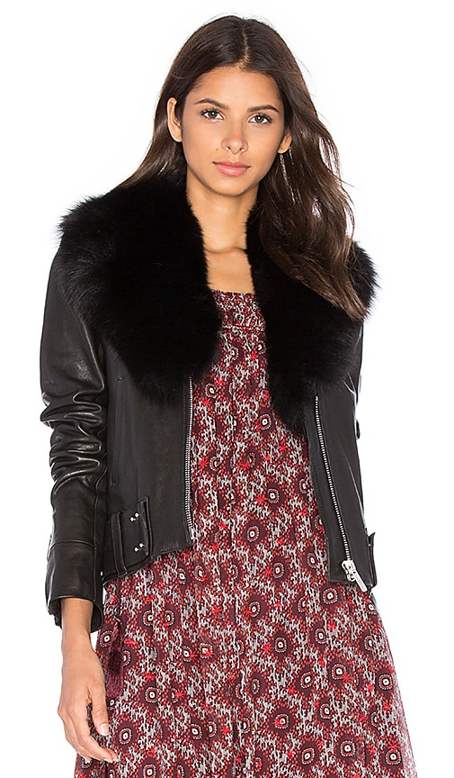 NOUR HAMMOUR Nada Fox Fur Collar Jacket in Black