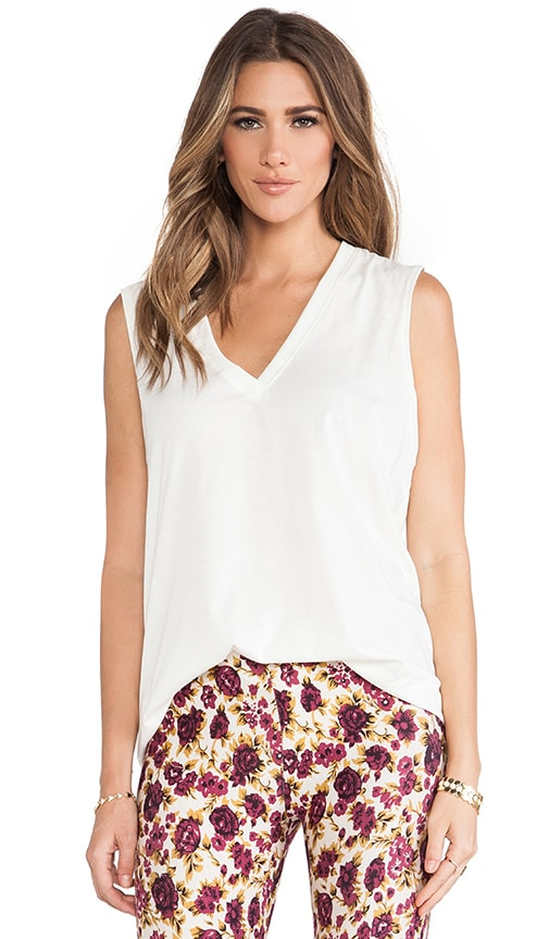 NOVELLA ROYALE Muse Deep V Cotton Tank in Cream