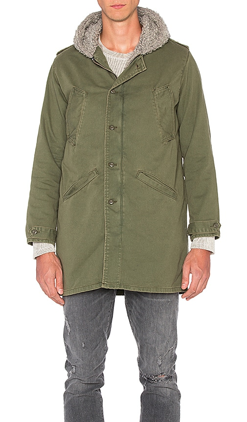 NSF Nosef Faux Shearling Jacket in Army
