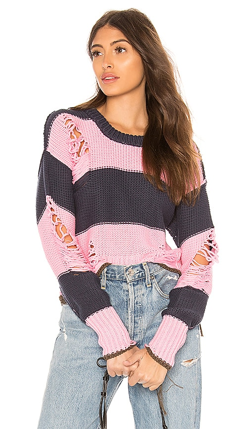 NSF Presley Destroyed Sweater in Pink