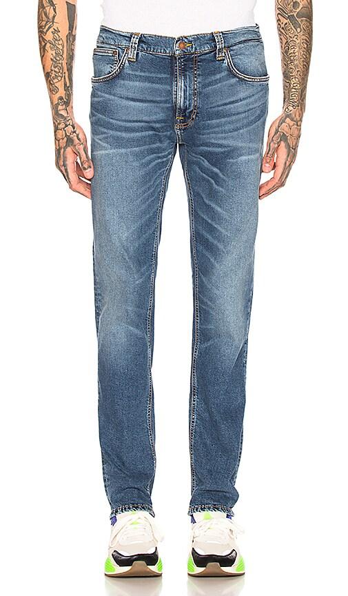 Nudie Jeans Mens Thin Finn Mid Blue Ecru