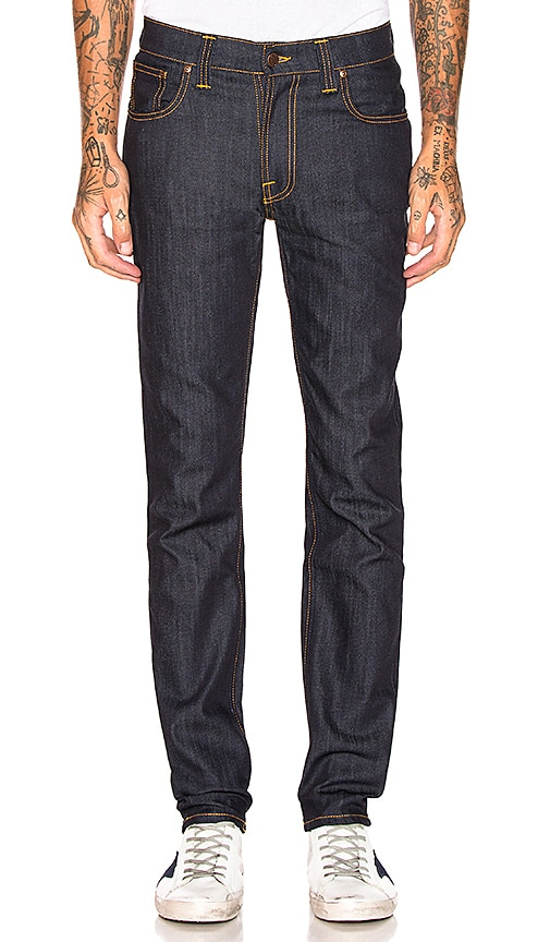 Nudie Jeans Thin Finn in Organic Dry Ecru Embo