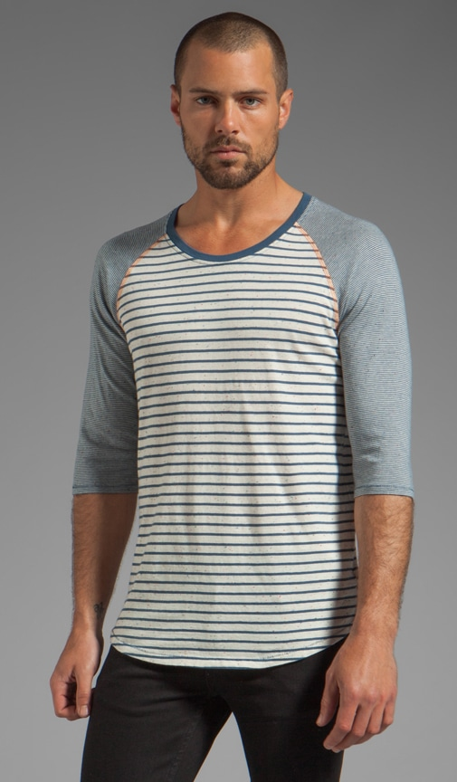 Quarter Sleeve Stripe Tee