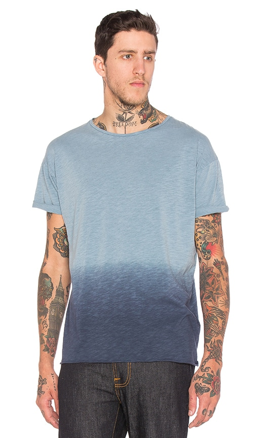 Nudie Jeans Dip Dyed T Shirt in Blue