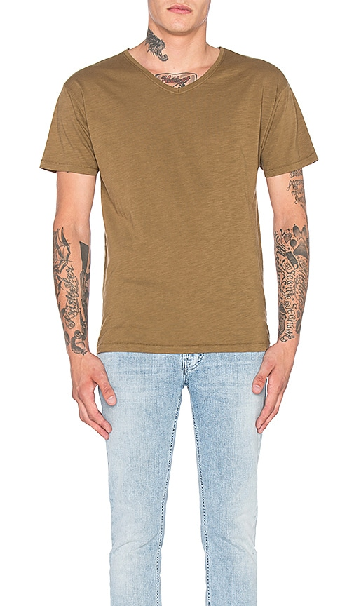 Nudie Jeans Loose V Neck Tee in Brown