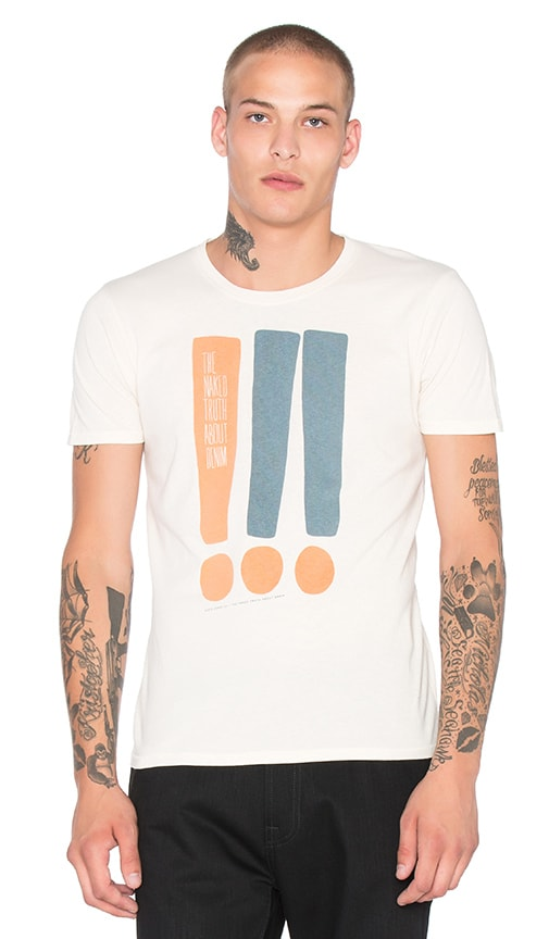Nudie Jeans O-Neck Exclamation Tee in Off White