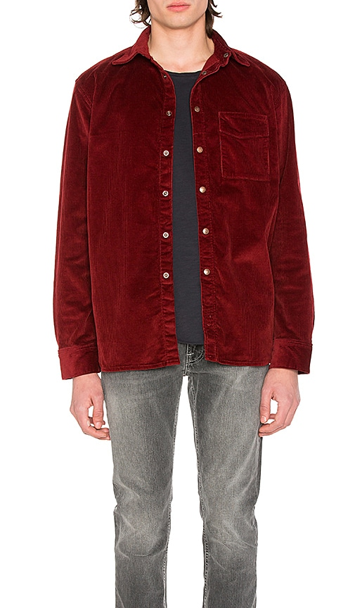 Nudie Jeans Calle Corduroy Shirt in Red