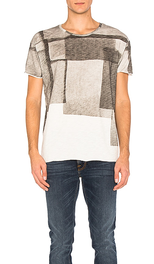 Nudie Jeans Unfinished Hem Club Collage T Shirt in Gray