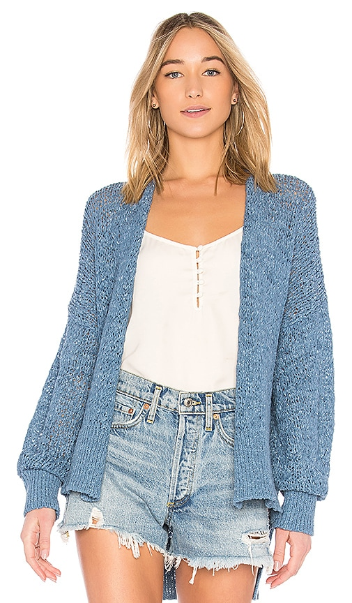 Nude Long Sleeve Cardigan in Blue