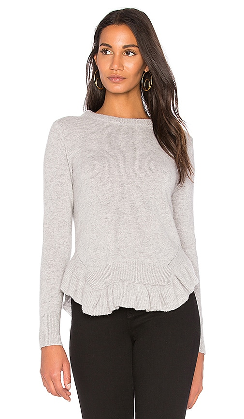 Nude Round Neck Ruffle Hem Sweater in Gray