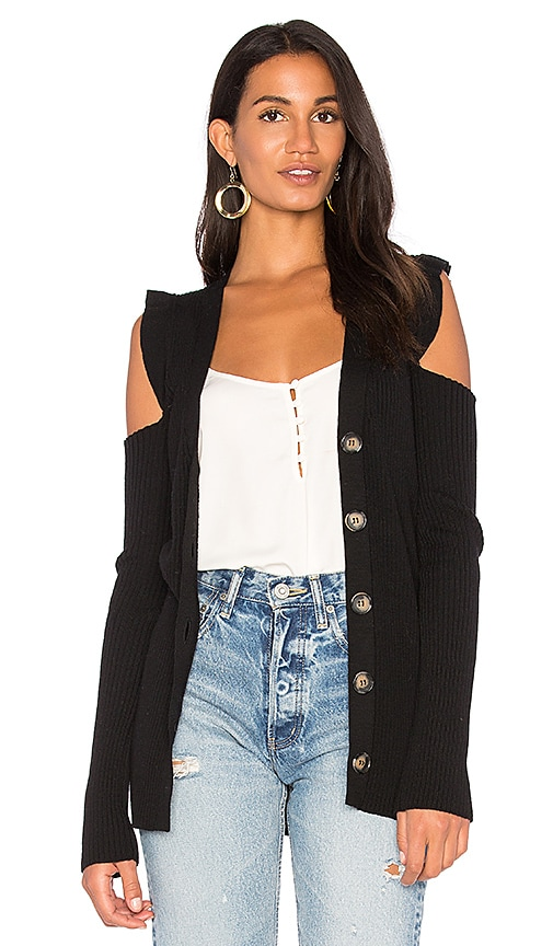 Nude Cut Out Shoulder Cardigan in Black