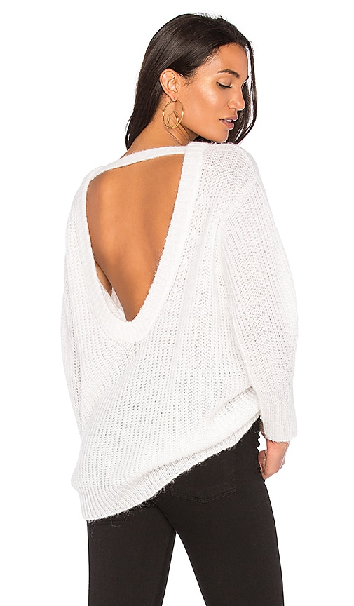 Nude Large Round Neck Open Back Sweater in Ivory