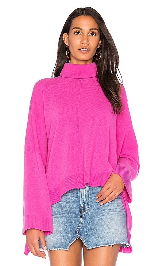 Nude Turtle Neck Pullover Sweater in Fuchsia