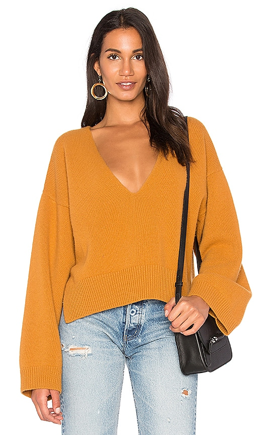 Nude Deep V Neck Sweater in Burnt Orange