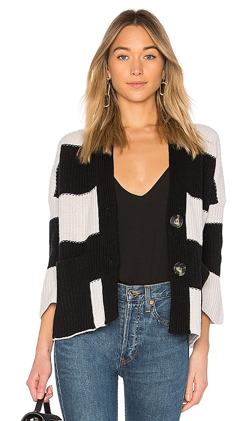 Nude Striped Cardigan in Black & White