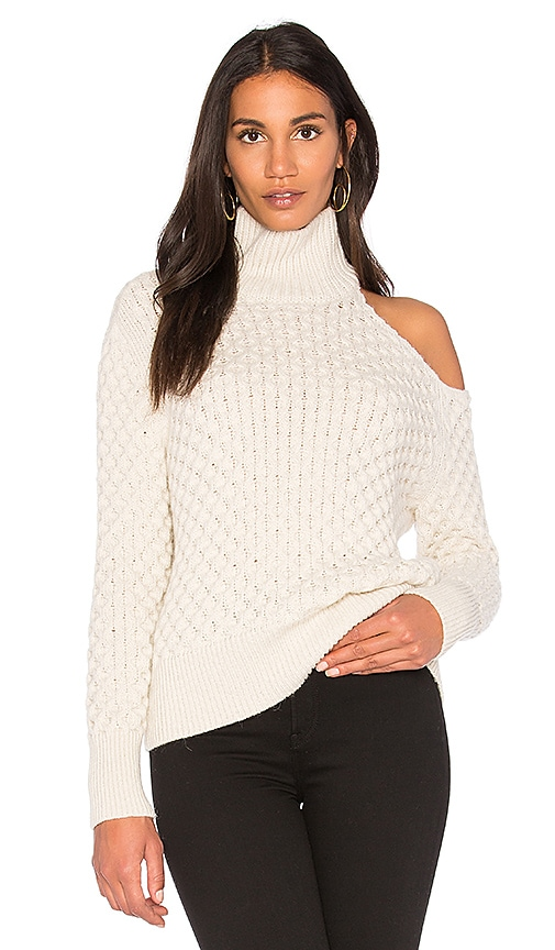 Nude Turtle Neck Cut Out Shoulder Sweater in Cream