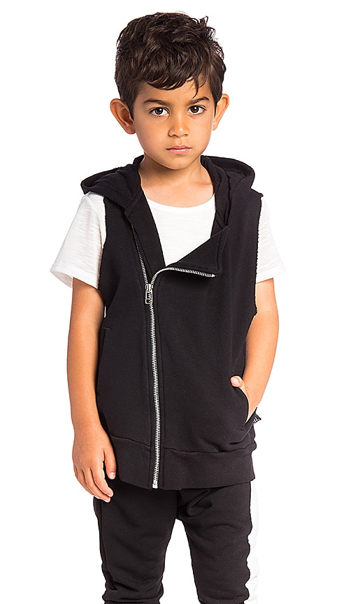 Nununu Diagonal Hooded Vest in Black
