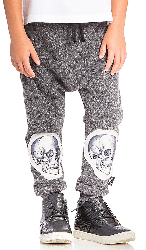 Nununu Patch MD Skull Baggy Pant in Charcoal