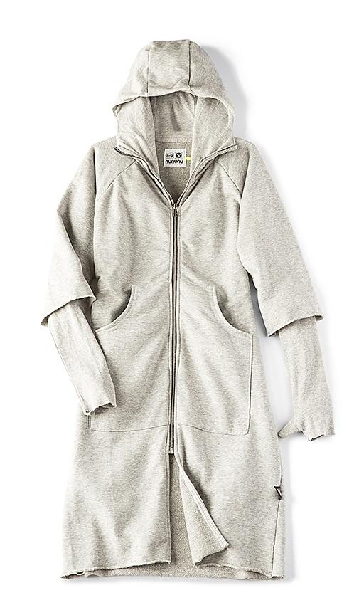 Nununu Maxi Zip Hoodie Dress in Gray