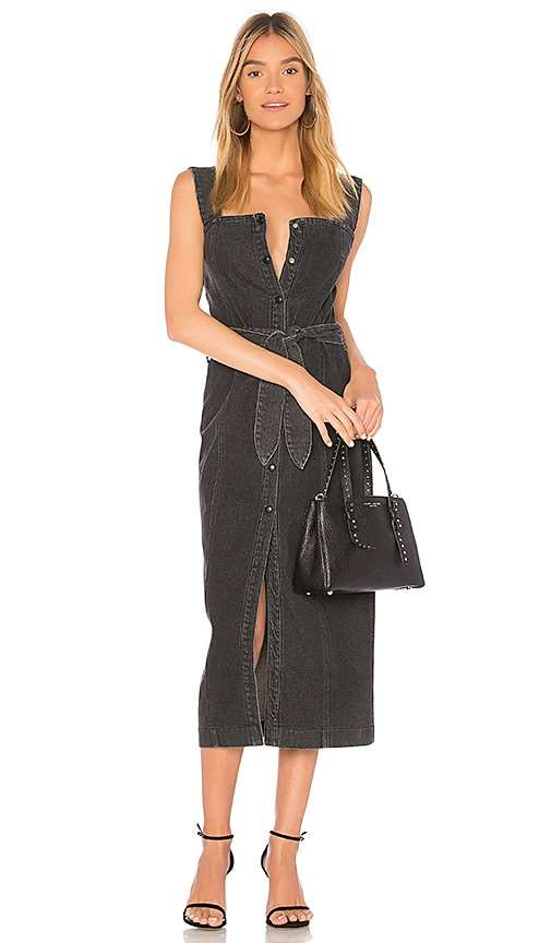 Nanushka Sally Dress in Washed Black