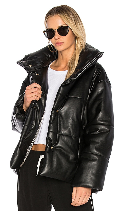 Hide Quilted Vegan Faux Leather Puffer Jacket in Black