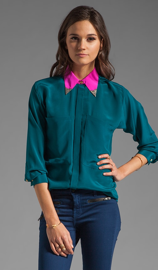 2 Tone Oversized Pocket Blouse with Collar Tips