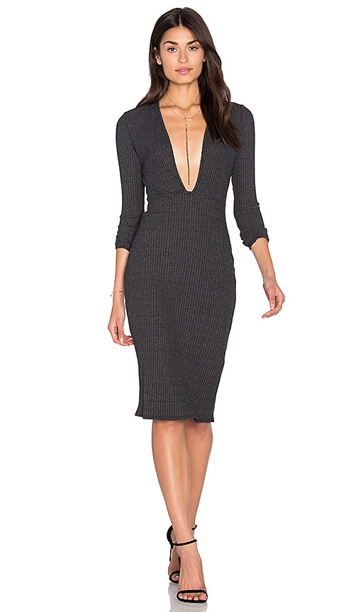 NYTT Long Sleeve Plunge Dress in Charcoal