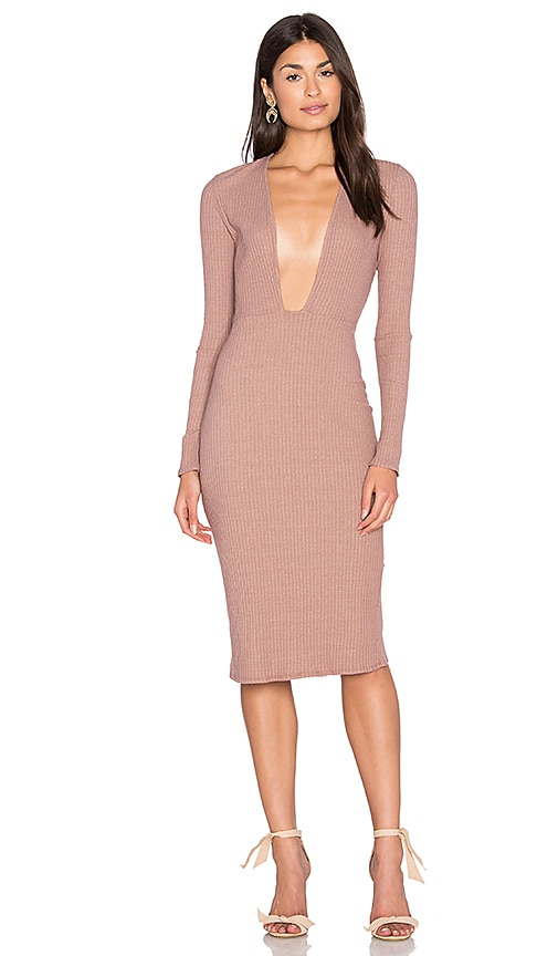 NYTT Long Sleeve Plunge Dress in Taupe