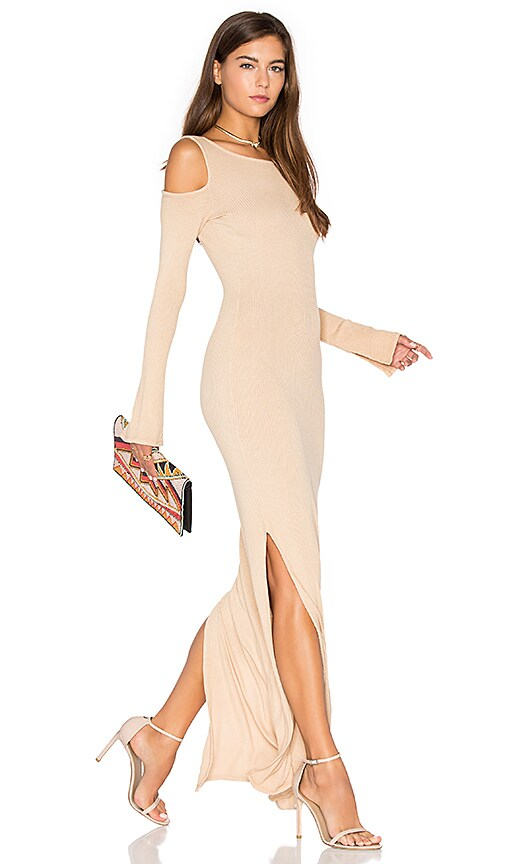 NYTT Cold Shoulder Maxi Dress in Tan
