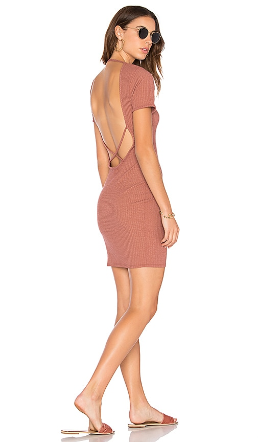 NYTT Cross Back Rib Dress in Rust